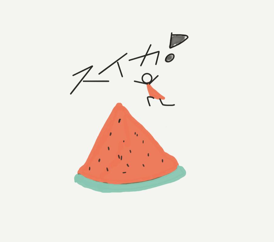 スイカを丸かじり!のイラスト